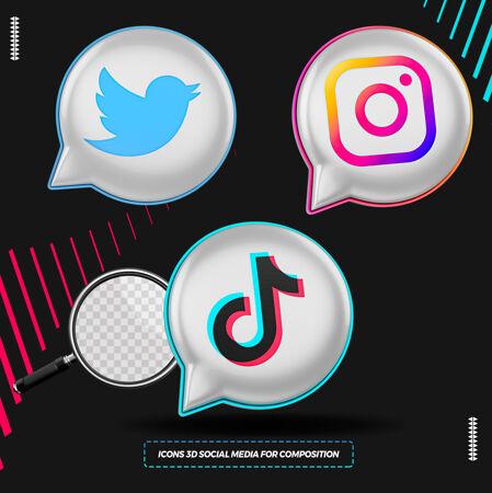 三维社会媒体图标气球格式呈现