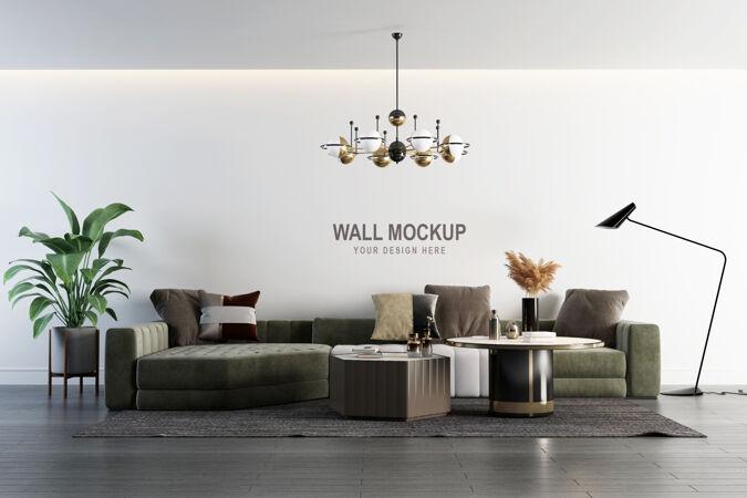 室内客厅墙壁模型设计在三维渲染