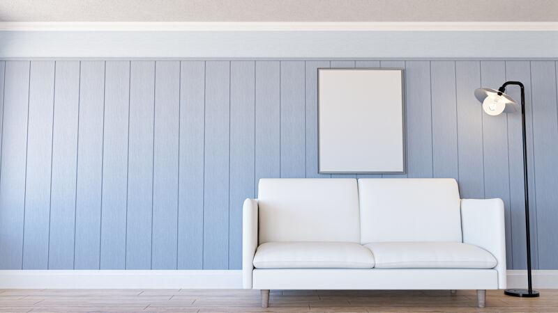 带沙发的最小客厅室内3d渲染