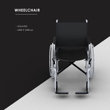 孤立的金属轮椅从正面俯视