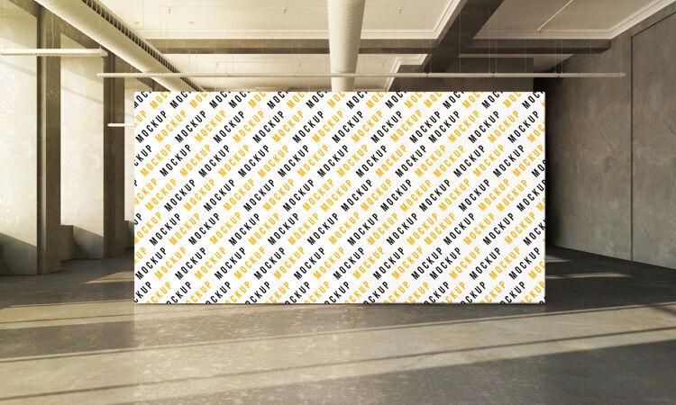 展览广告牌上的混凝土大厅三维渲染模型设计