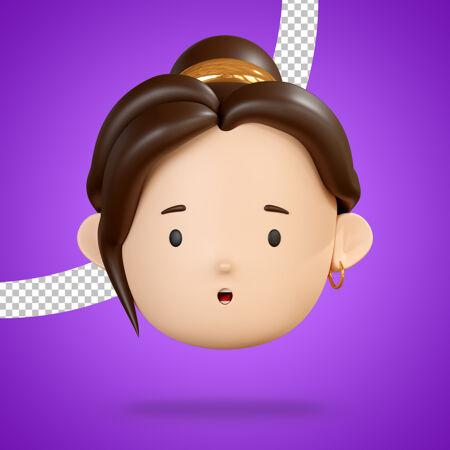 张大嘴巴的脸 为女人角色3d渲染的惊艳表情