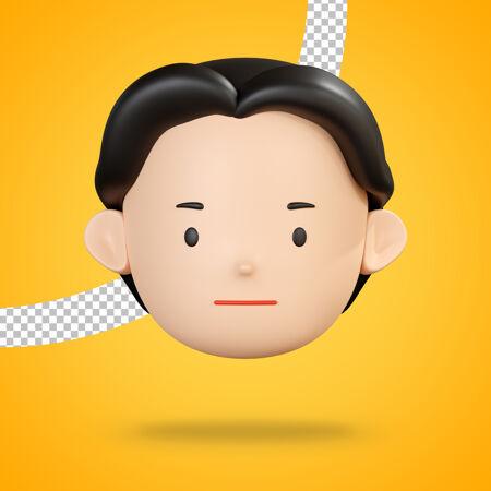 头像人物的中性表情