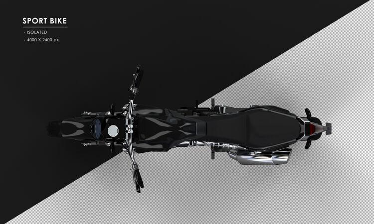孤立的黑色运动自行车从顶视图