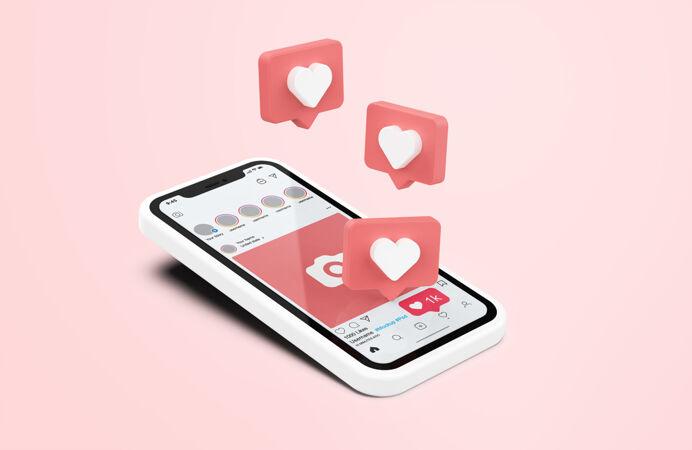Instagram在白色手机上模拟3d图标