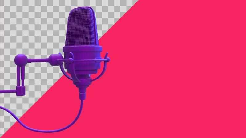 三维演示紫色麦克风剪辑路径