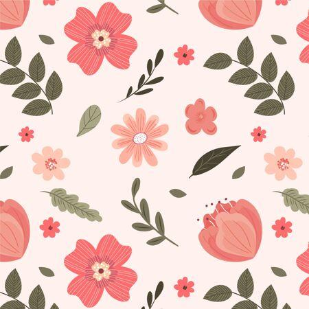 桃色手绘花卉图案