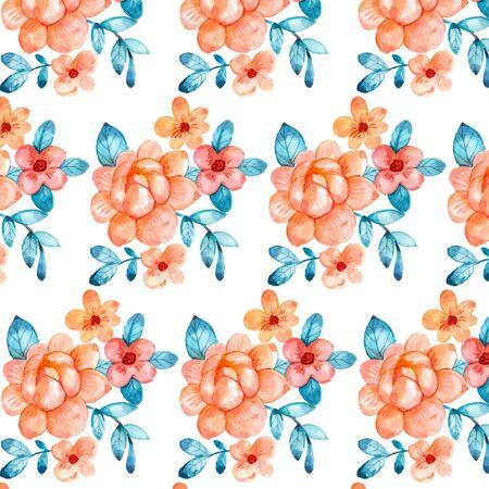 手绘水彩桃色花卉图案