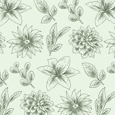 雕刻手绘植物图案
