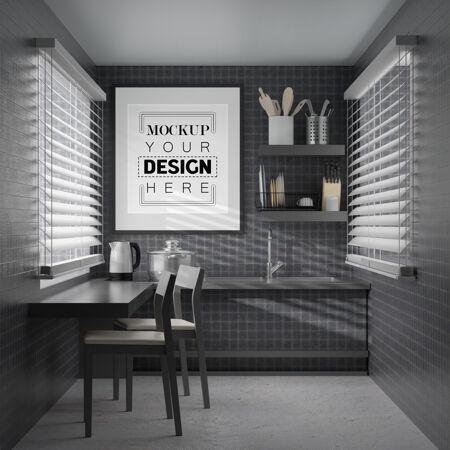 厨房室内的墙壁艺术或画框模型