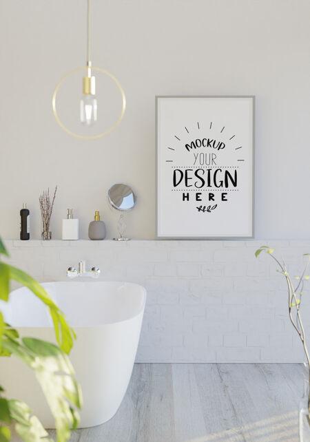 浴室内部的墙壁艺术帆布或画框模型