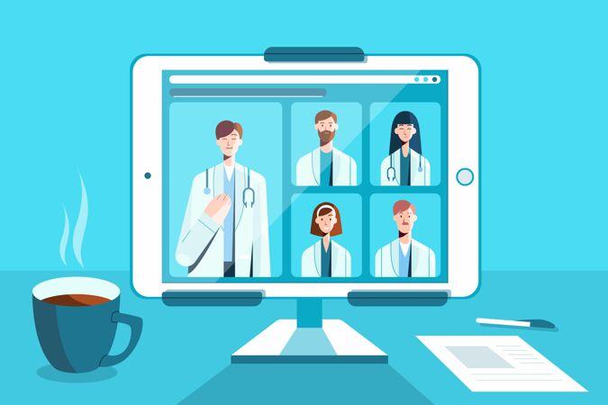 在线医疗会议与平板电脑