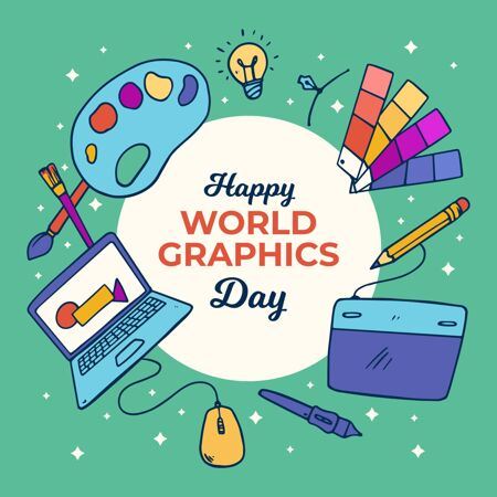 手绘世界图形日插画