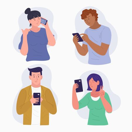 一群使用智能手机的年轻人