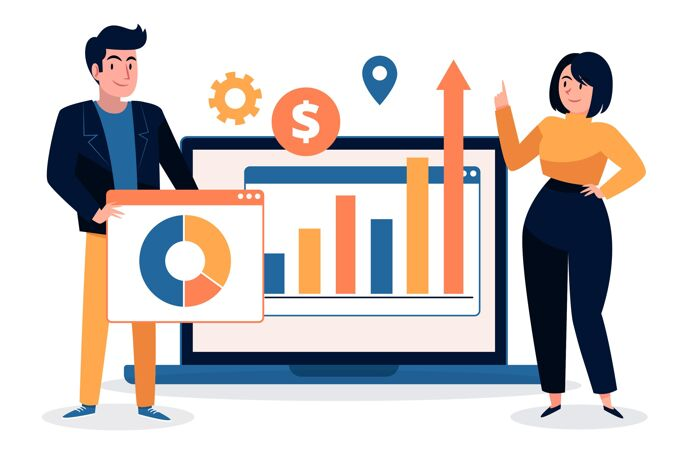团队合作分析增长图表