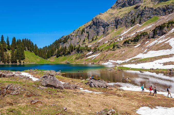 群山和树木环绕着瑞士的laclioson湖