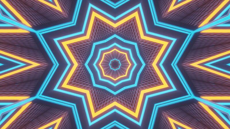 用闪烁的霓虹灯渲染抽象的未来主义背景